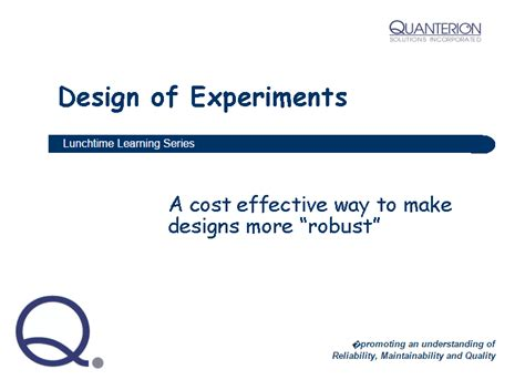 design of experiment knowledge lunchtime learning series rmqsi knowledge center