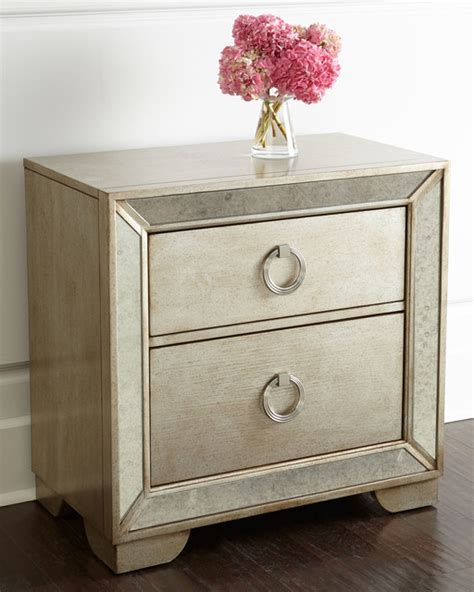 Modern Mirrored Nightstands Lombard Nightstand Beige Mirrored Contemporary Nightstands And Bedside Tables