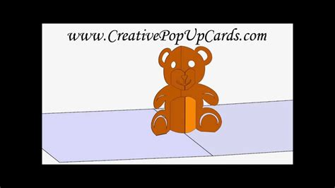 teddy pop up card template free teddy pop up card 3d cad model