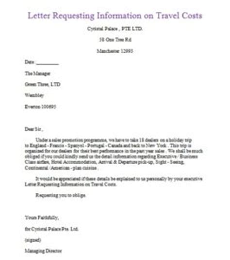 Request Letter Travel Sle Exle Of Letter Of Inquiry For Travel Agency Sles Business Letters