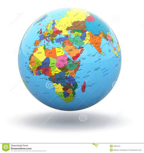 globe maps 3d political world globe on white background 3d stock