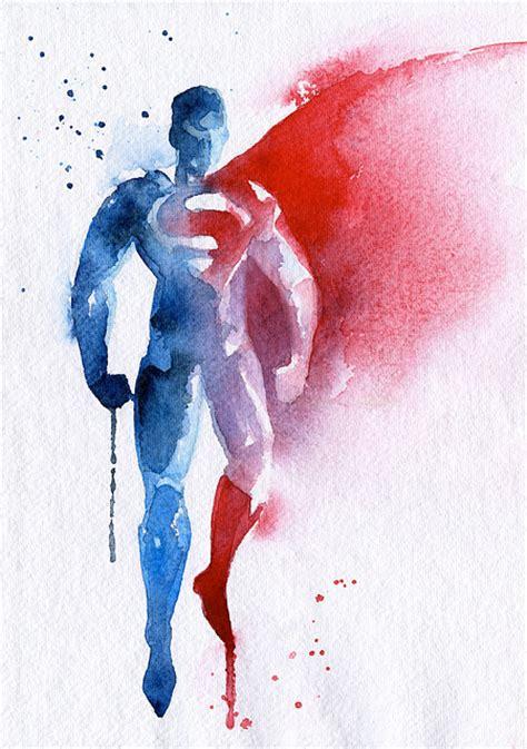superman painting watercolor paintings of superheroes