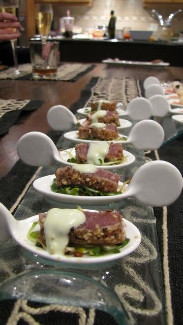 canapes on spoons recipes seared and crusted ahi tuna micro greens with a