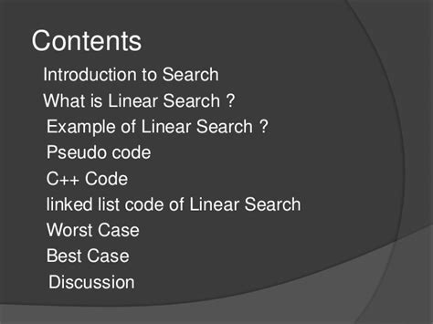 Linear Search Worst Linear Search Data Structure