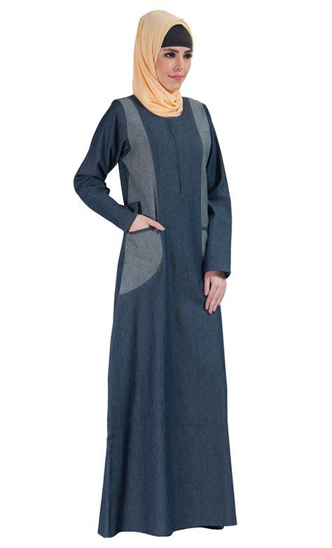 Jilbab Hoodie Zipper denim zipper front abaya dress blue shop at discount price