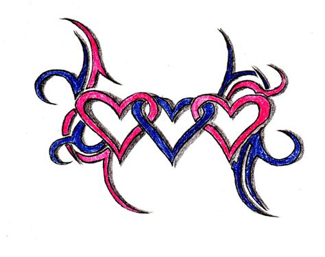 three heart tattoo designs three hearts clipart best