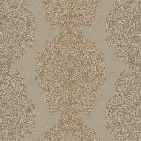 metallic gold ornate damask stripe wallpaper