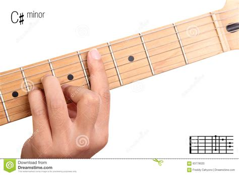 tutorial guitar up c sharp minor guitar chord tutorial stock photo image