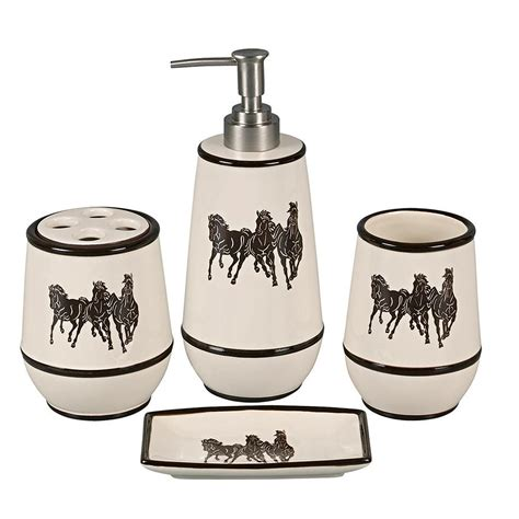 Clearance Horses Tooled Leather Vanity Set Cabin Place Bathroom Accessory Sets Clearance