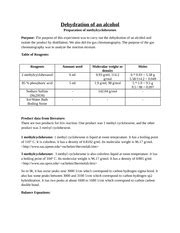 hydration of cyclohexene lab exp 2 report experiment 2 dehydration of an