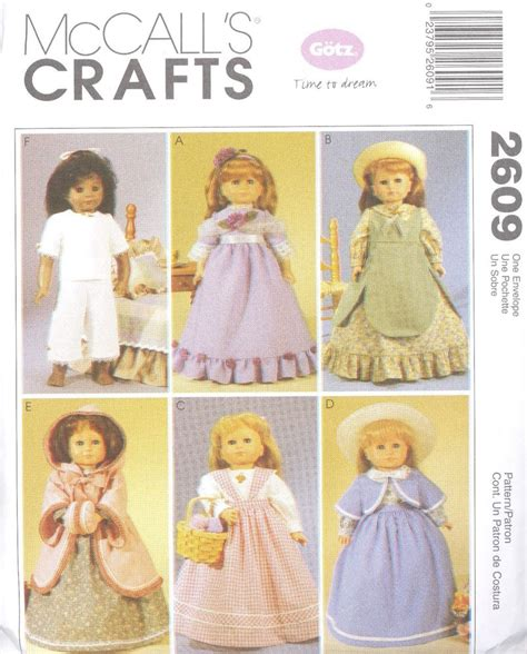 patterns sewing crafts mccall s 2609 18 quot doll clothes craft sewing pattern ebay