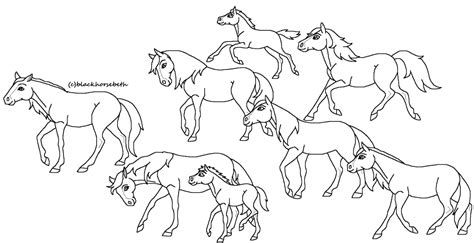 herd of horses coloring pages fanart blackhorsebeth herd lineart