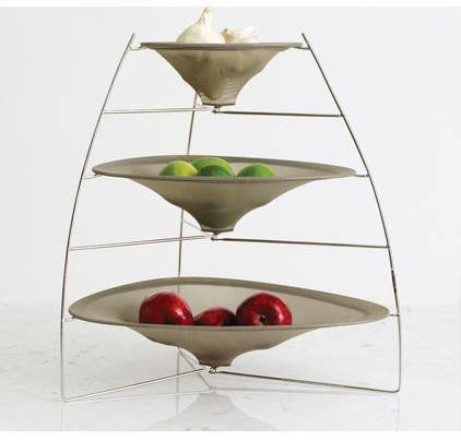 Tiered Fruit Stand Kitchen by Chilewich Raytray Three Tier Fruit Bowl Smoke H 19
