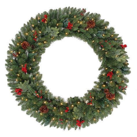 holiday wreath martha stewart living 48 in battery operated pre lit led