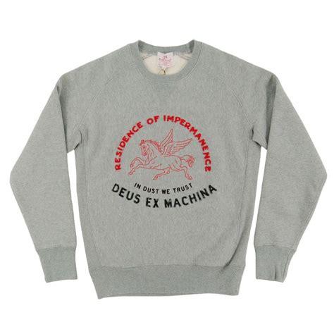 in deus we trust shirt deus ex machina dust we trust crew sweatshirt grey marle