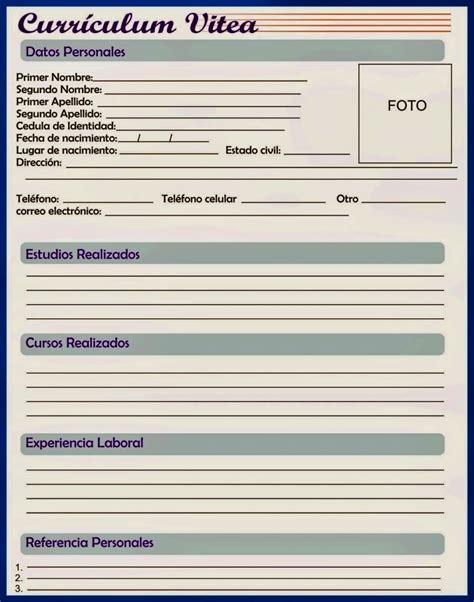 formato de curriculum vitae para llenar descarga de curriculum vitae para llenar resume template
