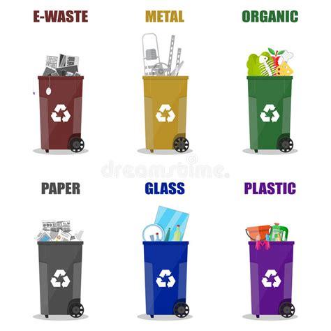clipart rifiuti categorie differenti di riciclaggio dei rifiuti bidoni