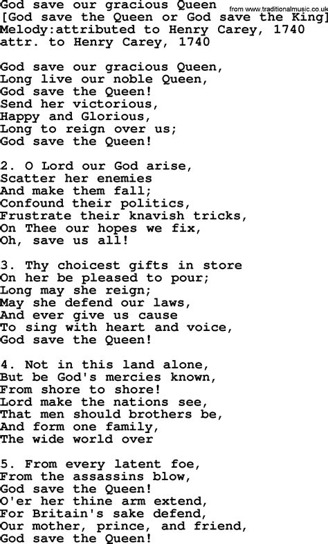 full version god save queen lyrics old english song lyrics for god save our gracious queen