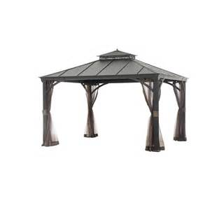 Allen Roth Metal Top Gazebo by Allen Roth 12 Ft X 10 Ft Black Hardtop Gazebo Lowe S