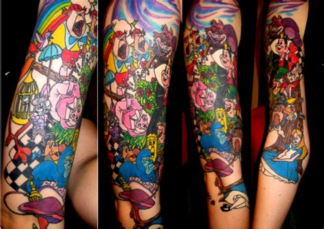 cartoon themed tattoo sleeve alice in wonderland sleeve by smokinguns on deviantart