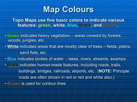 what does the color black on a map illustrate topographic maps presentation mine
