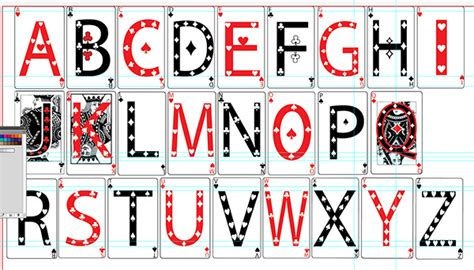 printable alphabet playing cards typography graphic illustration on behance