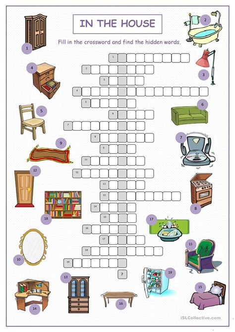 in the house crossword puzzle worksheet free esl