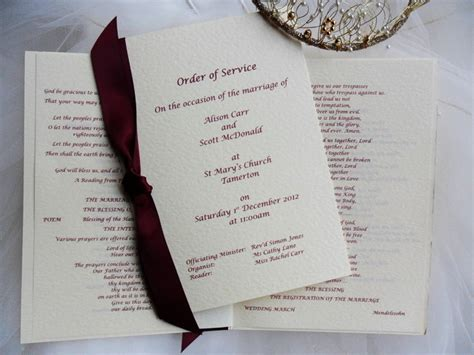 Wedding Order of Service, Order of Service for Weddings