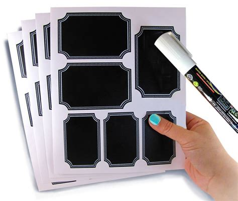 Sticker Pengiriman Shipping Label Isi 48 Pcs No 39 white border chalkboard labels set of 48 with big chalk pen reusable blackboard stickers for the