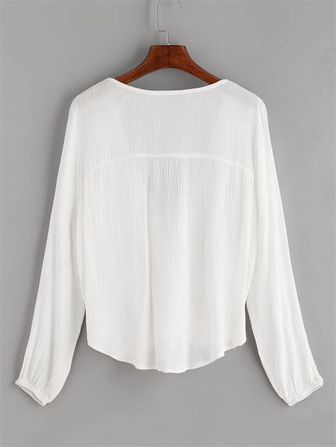 Twisted Blouse white contrast crochet twisted drape front tassel tie blouse shein sheinside