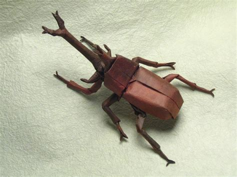 Origami Beetle - mind boggling insects created out of one sheet of paper
