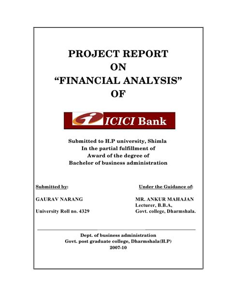 icici bank report project report on icici bank