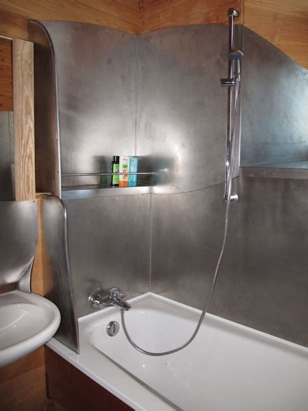 steel shower bath sheet metal shower interior no tiles no cracks no water enters the construction by architect