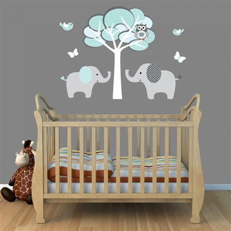 baby room wall murals interior creative baby nursery room decoration using light grey turquoise elephant wall murals