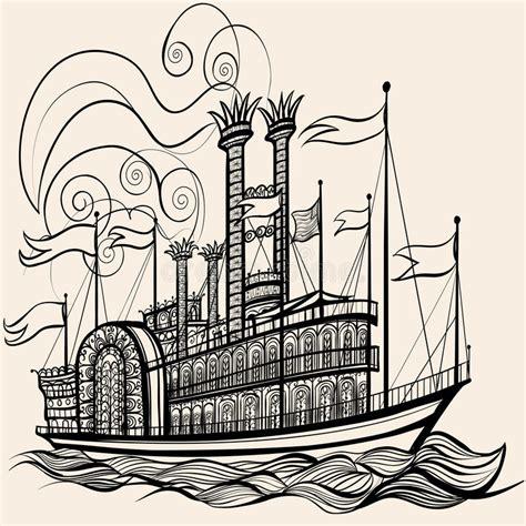 dessin bateau a vapeur vieux bateau 224 vapeur illustration de vecteur