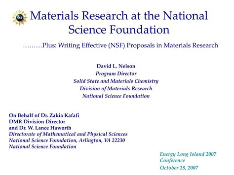 Research Letters In Materials Science Ppt Materials Research At The National Science Foundation Plus Writing Effective Nsf