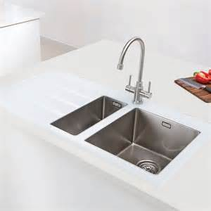 caple vitrea one and a half bowl glass and stainless steel