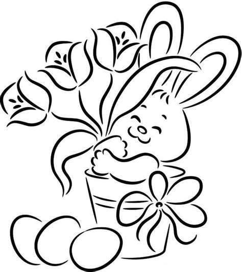 simple bunny coloring page easter drawings coloring home