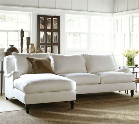 pottery barn settee carlisle upholstered sofa with chaise sectional pottery barn