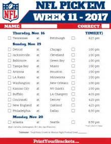 Nfl Office Football Pool Picks Printable Nfl Week 11 Schedule Em Pool 2017