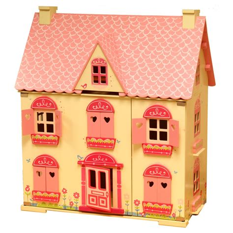 rose cottage dolls house rose cottage girls pink wooden wood dolls doll house free 22 pce furniture set ebay