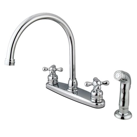 two handle kitchen faucet with sprayer kingston chrome handle goose neck kitchen faucet