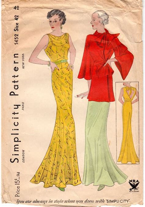 vintage pattern lending library uk vintage sewing pattern rare ladies 1930 s evening gown by