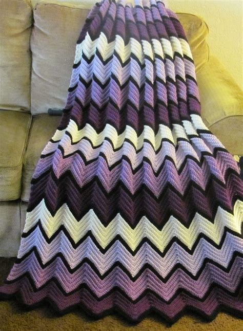 wave afghan in green and purple crochet throw blanket the row blankets and crochet on pinterest