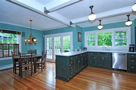 hint of green two tone kitchen with copper accents copper farm sink white painted wood teal traditional kitchen interiors by color