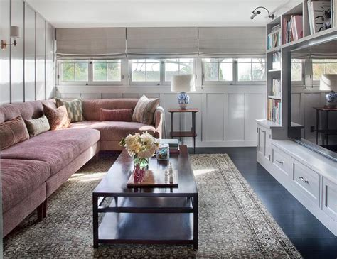 Family Room And Living Room - pink and gray family room with pink tufted sectional