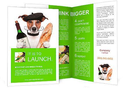 french dog wine baguette beret brochure template design