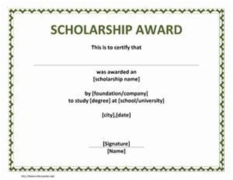 Scholarship Guarantee Letter Award Certificates And Search On