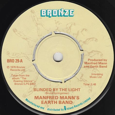 Blinded By The Light Song by Bruce Springsteen Lyrics Blinded By The Light Manfred
