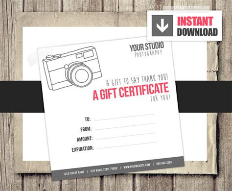 photography gift certificate templates gift card gift certificate template for photographers